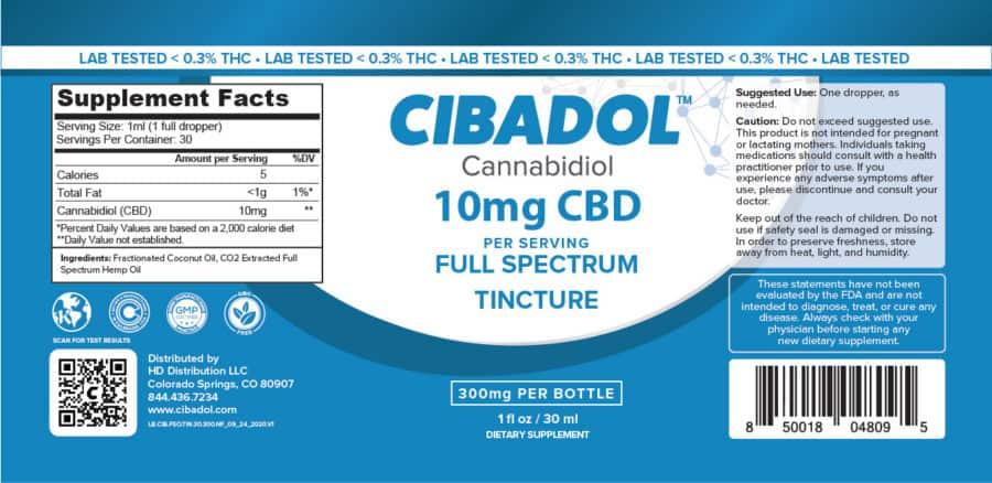 Cibadol 900mg FSO Tincture Label